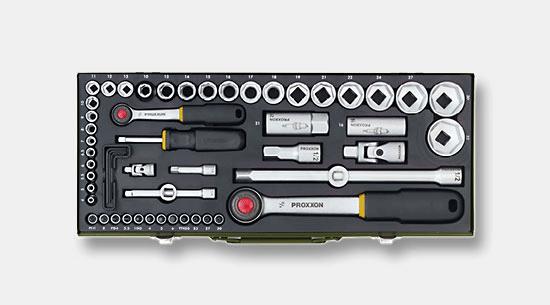 56 pièces Boîte à outils-Set Boîte à Outils Boîte Coffret de douilles cliquet